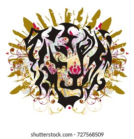 Tiger head mascot with gold feathers. Grunge colorful tiger head splashes with twirled floral elements