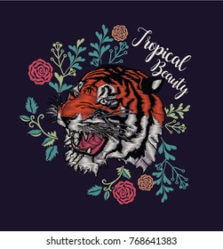 tiger head and rose embroidery effect