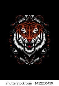 The Tiger head with sacred geometry pattern