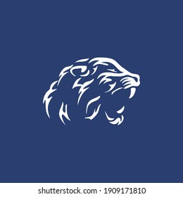 Tiger head silhouette, Vector tiger head, face for retro logos,  roaring tiger vector illustration, emblems, badges, labels template.