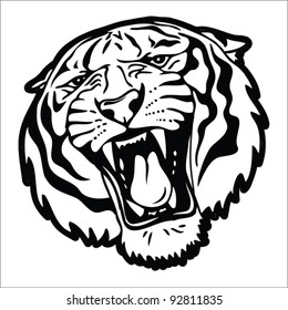 Tiger head silhouette - Vector illustration isolated on white background
