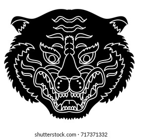 Tiger head silhouette vector isolate on white background