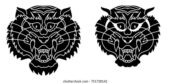 Tiger head silhouette vector isolate on white background.Line art and doodle tiger face.
