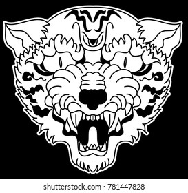 Tiger head silhouette vector isolate on white background.Line art and doodle tiger head