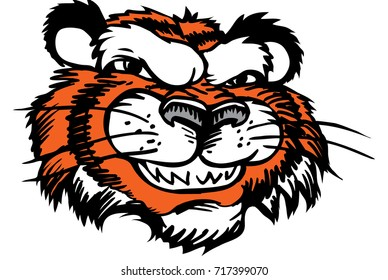 Tiger head, smiling, confident and proud which gives tribute to traditional school mascots but with a new look and attitude. Suitable for all sports.