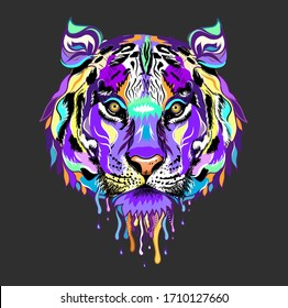 Tiger head tattoo. Tiger isolated on grey background. Wall stickers