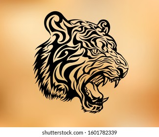 tiger head. tiger tribal tattoo sketch. formidable growling tiger