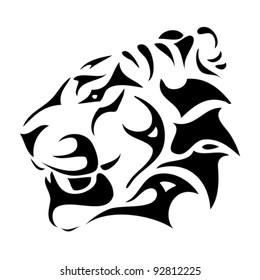 tiger head - tribal - vector illustration