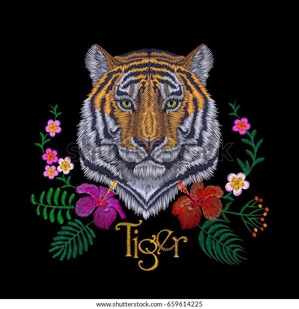 虎頭熱帯花正面視の刺しゅうパッチステッカーオレンジ色の縞