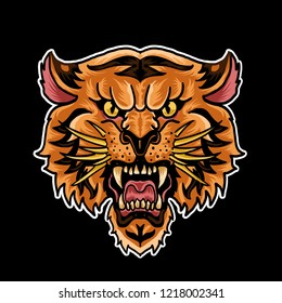 Tiger head vector artwork with a handsome face