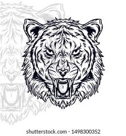 tiger head vector. tiger face vector. editable vector of tiger head. (in packaging design, decoration, print, t-shirt design, tattoo art, etc.)