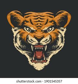 The Tiger Head Vector Illustration