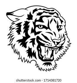 Tiger head vector illustration for t-shirt design or tattoo