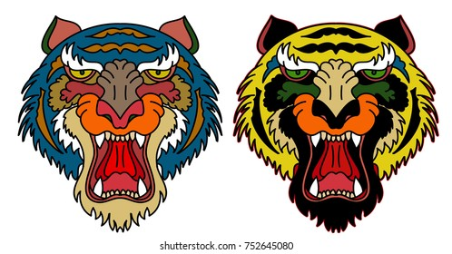 Tiger head vector isolate on white background.traditional tattoo tiger face.