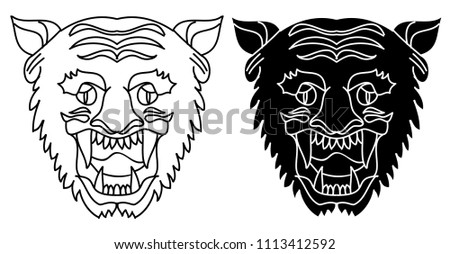 b0827dfe87729 Tiger head vector isolate on white background.traditional tattoo tiger head.