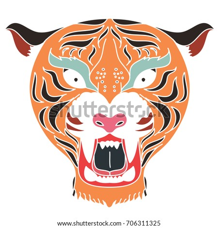 a5374fa892862 Royalty-free stock vector images ID: 706311325. Tiger head vector isolate  on white background.traditional tattoo tiger head. - Vector