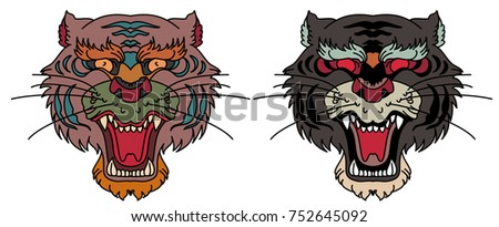 461408e8732a1 Royalty-free stock vector images ID: 752645092. Tiger head vector isolate  on white background.traditional tattoo tiger face. - Vector