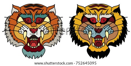 a8f4ac2fb4d64 Tiger head vector isolate on white background.traditional tattoo tiger face.