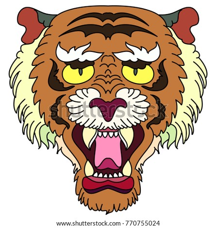 e051dd1734636 Royalty-free stock vector images ID: 770755024. Tiger head vector isolate  on white background.traditional tattoo tiger head - Vector