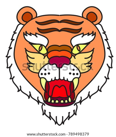 d73a180b8db63 Royalty-free stock vector images ID: 789498379. Tiger head vector isolate  on white background.traditional tattoo tiger head. - Vector