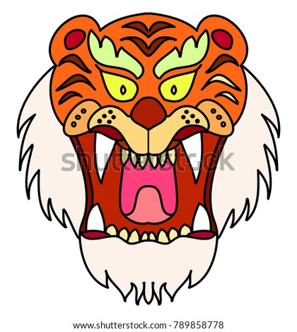 03d788f3b87b9 Royalty-free stock vector images ID: 789858778. Tiger head vector isolate  on white background.traditional tattoo tiger head. - Vector