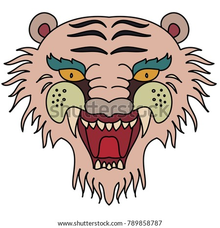 40e1c5b60dbc5 Royalty-free stock vector images ID: 789858787. Tiger head vector isolate  on white background.traditional tattoo tiger head. - Vector