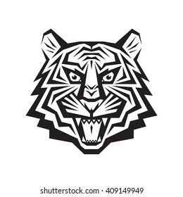 Tiger head - vector logo concept illustration in classic graphic style. Silhouette tattoo sign. Black & white. Jaws mouth grin shops.