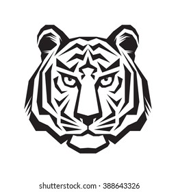 Tiger head - vector logo template concept silhouette illustration in classic graphic style. Wilde cat tattoo sign.