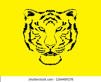 Tiger head wild hungry cat vector icon