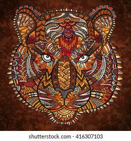 Tiger head zentangle artwork. Zentangle tiger. Animal zentangle illustration. Zoo and safari theme. Tiger eye. Wild life background. Ethnic boho ornament. Coloring book page. Wildcat vector.