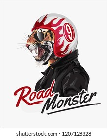 tiger in helmet and jacket with slogan
