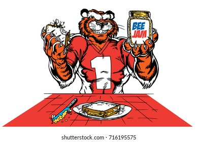 Tiger holding a jar of Bee Jam and  a sandwich which gives tribute to traditional school mascots but with a new look and attitude. Suitable for all sports.