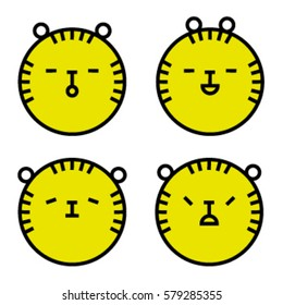 Tiger icons, face, line art. emotional animal