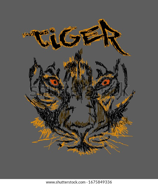 tiger illustration design for sukajan is mean japan traditional cloth or t-shirt with digital hand drawn