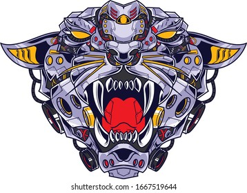 Tiger illustration in a robotic style