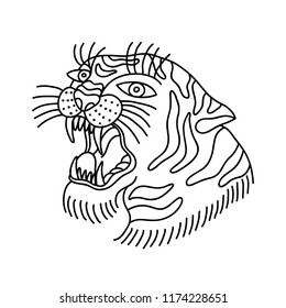 tiger illustration traditional tattoo flash