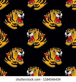 tiger illustration traditional tattoo flash seamless pattern