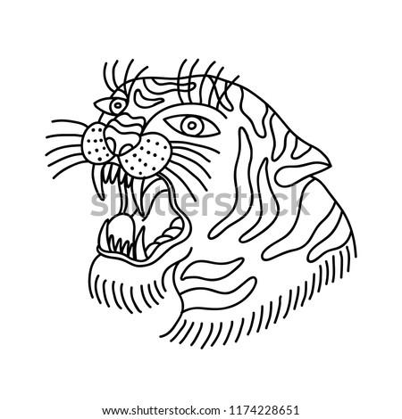 Tiger Illustration Traditional Tattoo Flash Vector De Stock Libre