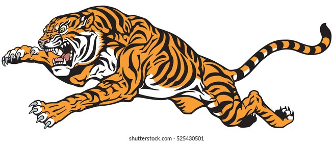 tiger jump. Angry big cat . Tattoo vector illustration isolated on white