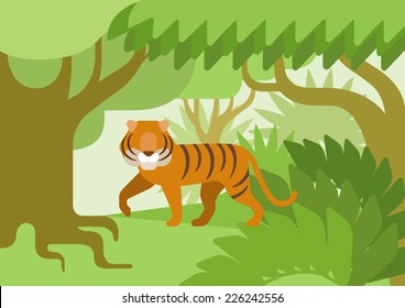 Tiger in the jungle habitat flat design cartoon vector wild animals. Flat zoo nature children collection.