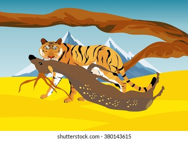Tiger killing his prey deer. Vector landscape. Vector illustration. Wildlife