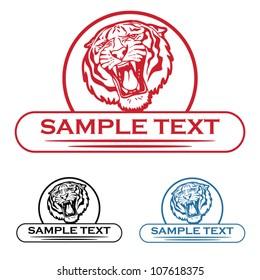 Tiger label - vector illustration
