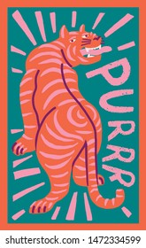 Tiger or leopard purring cute funky print in authentic post stamp style with text quote. Funky and funny valentines express love greeting card.