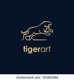 tiger line company logo. wild animal logo with minimalist concept