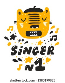 Tiger little one singing a song. Cute poster for baby room decorating or print on children textile.