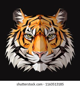 Tiger low poly triangular design. Triangle vector illustration isolated on white