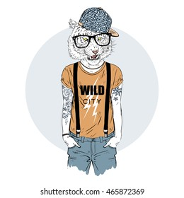 tiger man hipster dressed up in cool t-shirt, furry art illustration, fashion animals, hipster animals