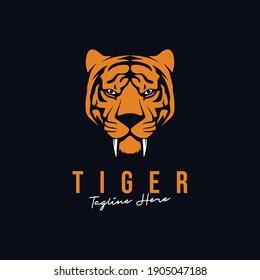 Tiger mascot logo, animal tiger head illustration vector ico