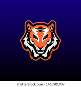 tiger mascot logo design vector with modern illustration concept style for badge, emblem and t shirt printing. angry tiger illustration for sport and e sport team.