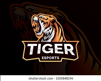 Tiger mascot sport logo design. Tiger animal mascot head vector illustration logo. Wild cat head mascot, Tiger head emblem design for eSports team. Vector illustration